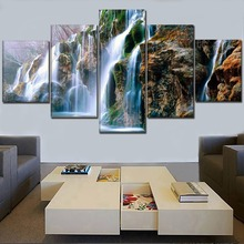 One Set Modular Picture Home Wall Decor Framework 5 Panel Nature Mountain Rock Landscape Waterfall Painting Canvas Print Artwork