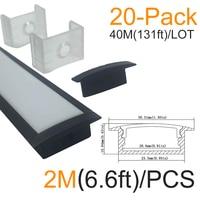 20 Pack 6 6ft 2M 10x30mm Black U Shape Internal Width 20mm LED Aluminum Channel