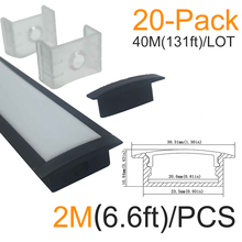 20sets/lot 40m 20X2M(6.6ft) Black U Shape 20mm Aluminum LED Channel kit for LED Strip Light Installations Aluminum LED Profile
