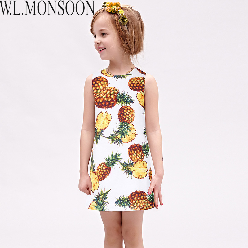 W.L.MONSOON Girls Summer Dresses with Pineapple Print 2017 Brand Toddler Dress Children Princess Costume Robe Fille Kids Clothes pineapple print flat sliders
