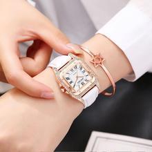 Ladies Dress Crystal Watches Bracelet Women Quartz Square Diamond Wrist Watches Leather Strap Rhinestone Watch relogio feminino цена