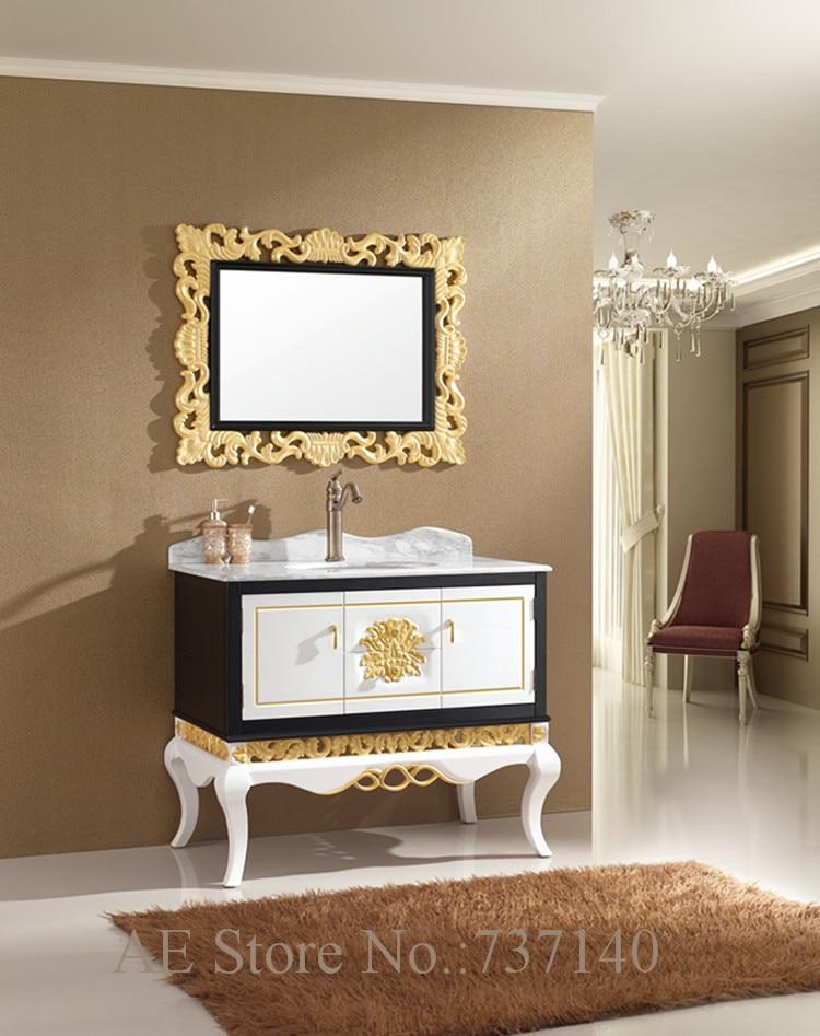 luxury furniture solid oak wood bathroom cabinet with