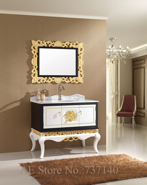 Luxury Furniture Solid Oak Wood Bathroom Cabinet With Mirror Ceramic Sink Buying Agent