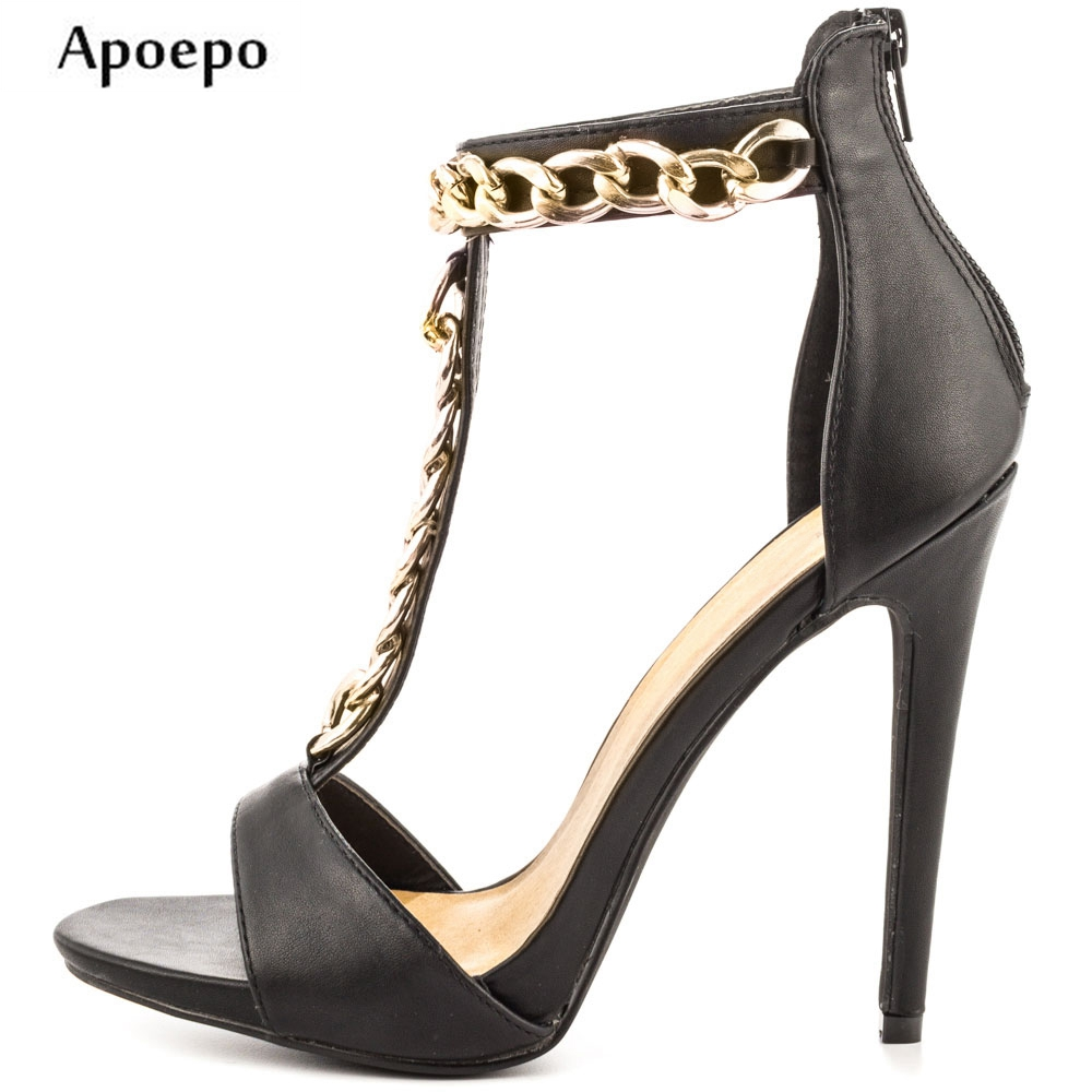Apoepo Hot Selling T-strap High Heel Shoes 2018 Sexy Open Toe Woman Sandal Summer Fashion Cutouts Thin heels Sandal Black hot selling black leather sandal high heel summer open toe chains decorations gladiator sandal woman cutouts thin heels shoes