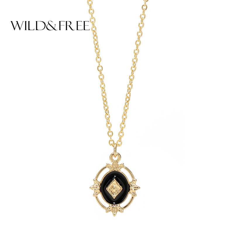 野生 & 送料ヴィンテージ幾何ペンダントネックレス女性のためのバロック様式の黒中空チェーン collarnecklace pendients ジュエリー