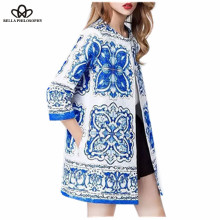 2017 spring Blue And White Porcelain floral jacquard long jacket women coat