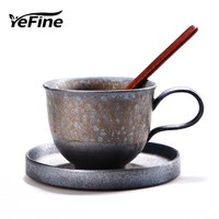 YeFine Creative FLAMBE GLAZED Ceramic Tea Cup Set Vintage Coffee Cups Porcelain Tea Cups And Saucers Christmas Gift