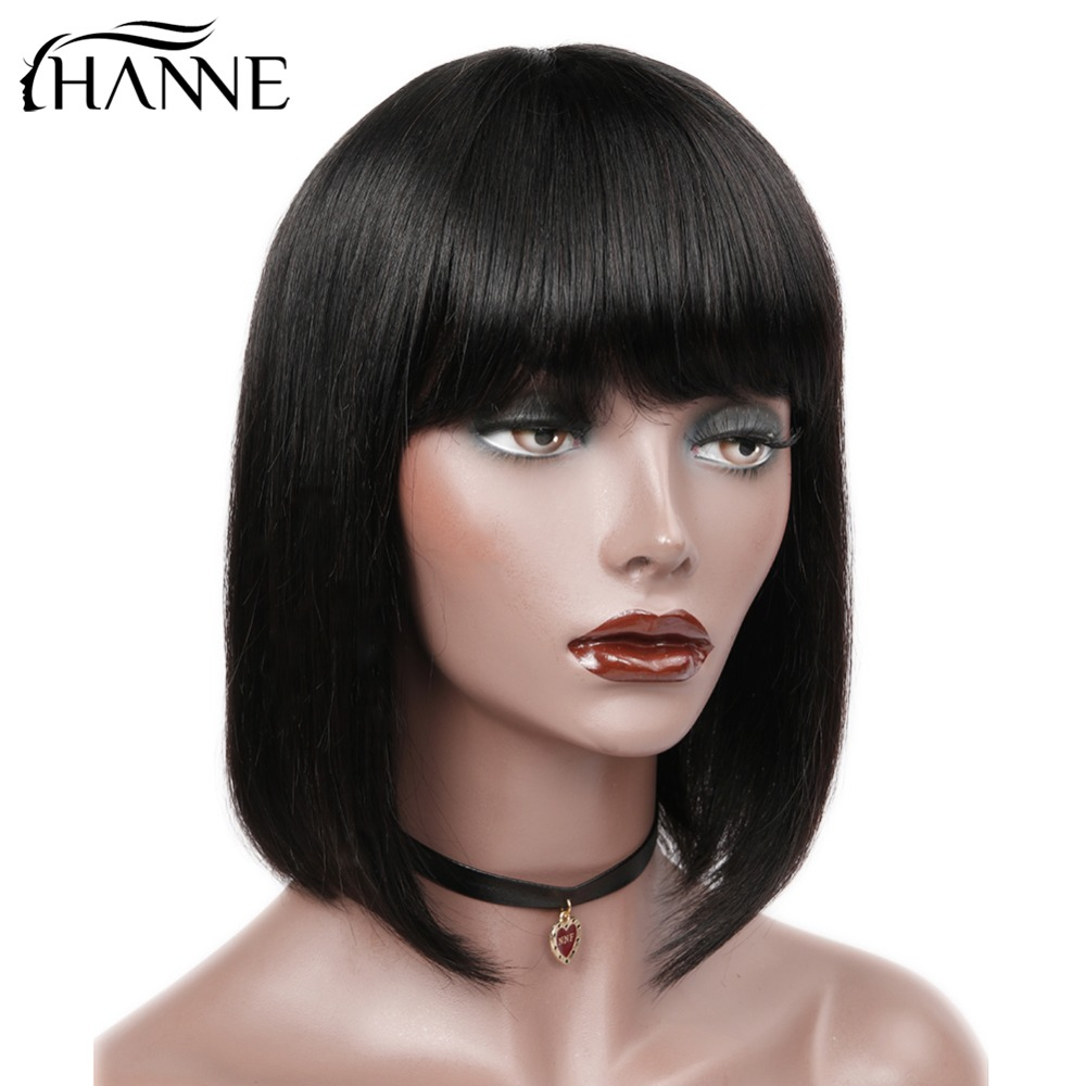 HANNE Hair Brazilian Straight Paryk med Bangs 100% Human Hair - Skønhed forsyning - Foto 3