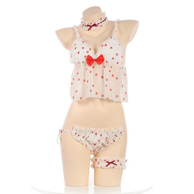 inlzdz Womens Kawaii Lingerie Set Anime Costumes Strapless Mini Bikini Bra Top with Briefs Bikini Set