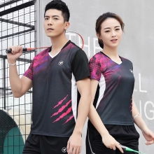 Спортивная брендовая быстросохнущая дышащая футболка для бадминтона, женские и мужские футболки для игры в настольный теннис, профессиональная командная игра, тренировочные футболки для бега