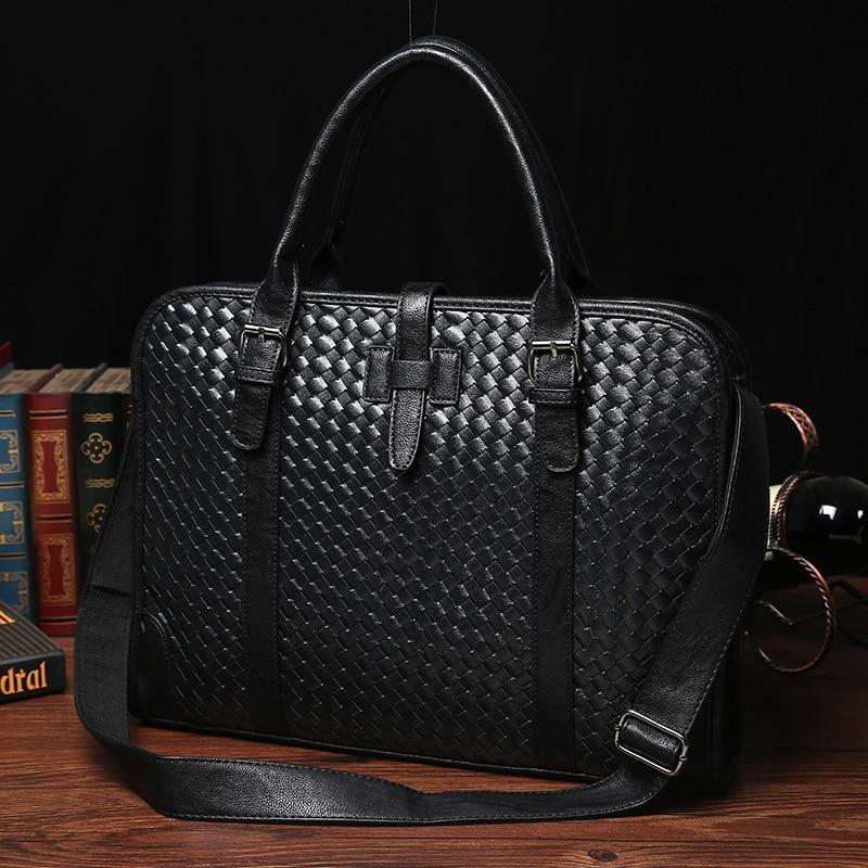 2016 New Fashion Men s Business Handbag Fashion PU Leather Handbag Briefcase Men Tide Tote Bag