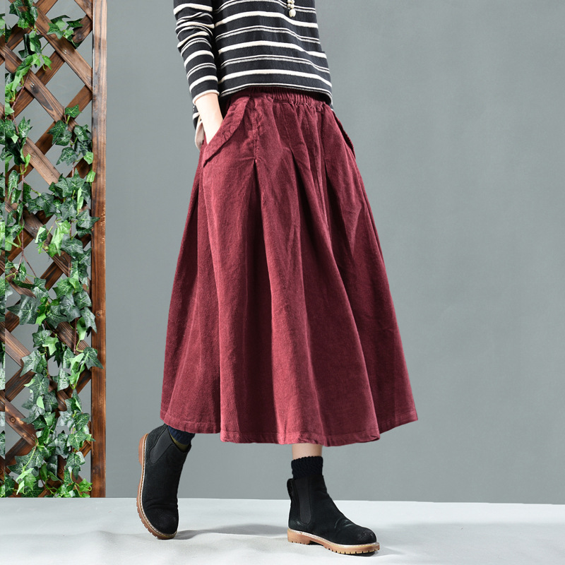 Image 2 - winter long skirts women  net color restoring ancient ways corduroy double ChaDou posed the a line skirt girl leisure female-in Skirts from Women's Clothing