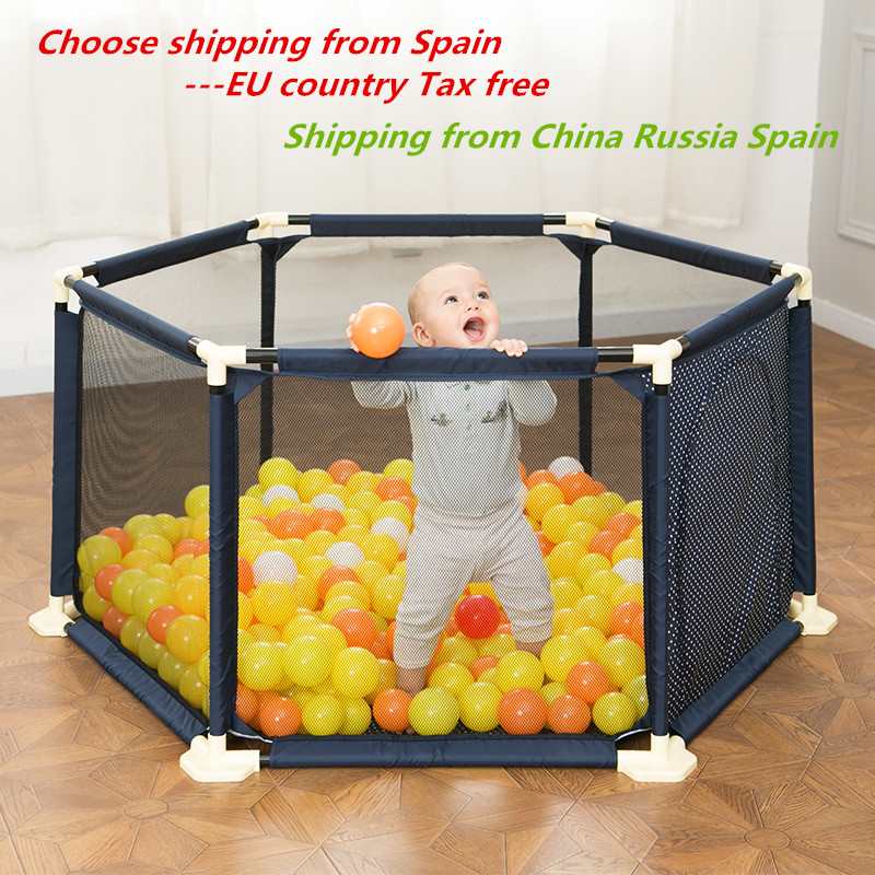 <font><b>Baby</b></font> Playpen Portable Plastic Fencing For Children Folding Safety Fence Barriers For Ball <font><b>Pool</b></font> For Child Travel Basketball hoop image