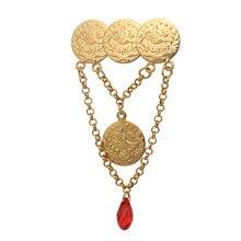 Zkd Islam Arabische Coin Gold Kleur Turkije Munten Crystal Pin Broche Islam Sieraden Hijab Broche