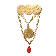 zkd  islam Arab Coin Gold Color Turkey Coins crystal Pin brooch  islam jewelry Hijab brooch