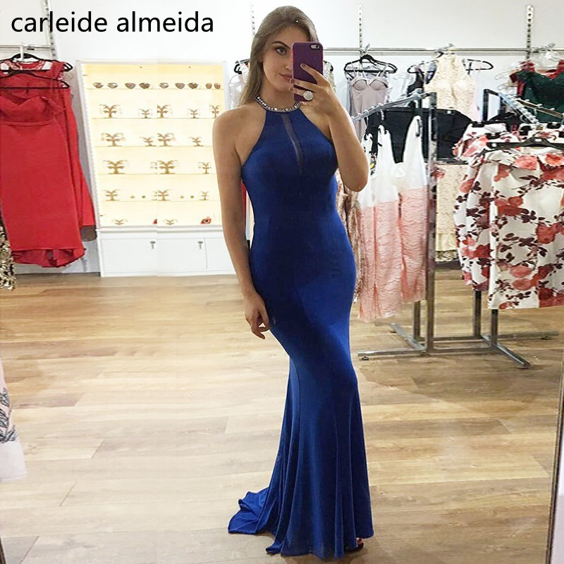 Robe de soiree Crystal Back Royal Blue   Prom     Dress   Sweep Train Formal   Dress   Women Abendkleider Long   Prom   Party   Dress