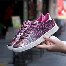 2019 Women High Top Sneakers Sequins Rivet Glitter High-Cut Round Toe Lace-Up Shoes Outdoor Skateboard Shiny Sneakers 1812
