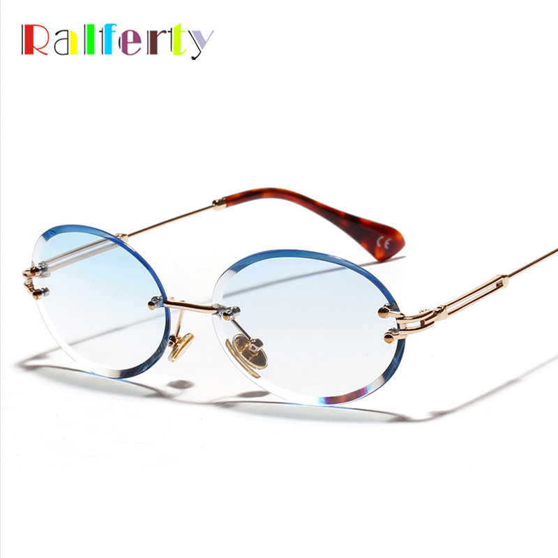 Ralferty Sunglasses Women 2019 Luxury Ladies Sunglases Oval Rimless Crystal Sun Glasses Female UV400 lentes de sol mujer W18904