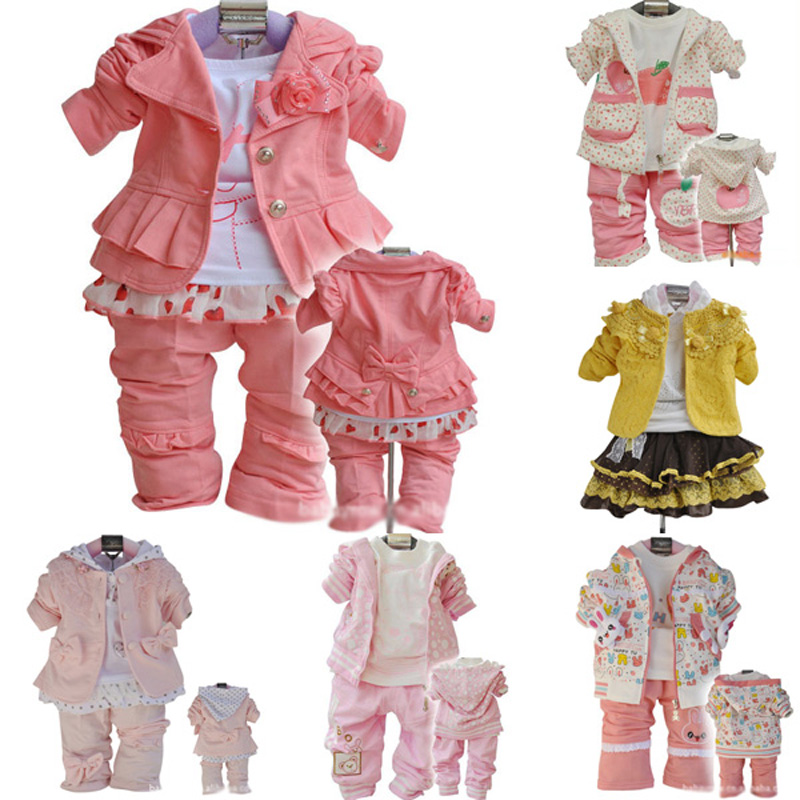 2016 New Girls Flowers Lace 3pcs Clothes Sets spring autumn Kids coat+long-sleeved T shirt+pants Cute Patter girl set high-grade 2016 new girls flowers lace 3pcs clothes sets spring autumn kids coat long sleeved t shirt pants cute patter girl set high grade