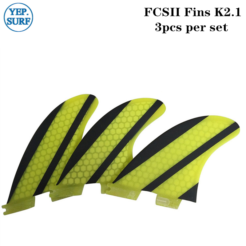 FCS2 Fins K2.1 Yellow/Blue Fibreglass Fins Hot Sale Surfboard FCSII Fins FCS 2 Fin In Surfing Paddle Board