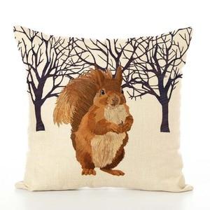 Image 2 - Housse de coussin nordique en lin imprimé animaux, taie doreiller, pour Thanksgiving, pour canapé, voiture, décoration de salon