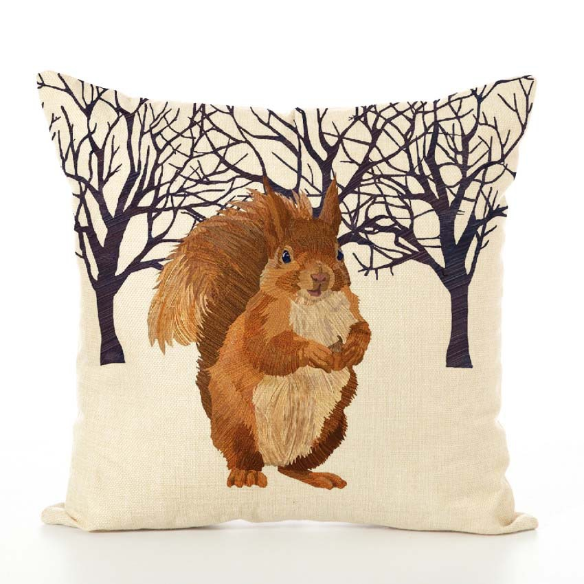 Image 2 - Nordic Cushion Cover Animal Printed Linen Hug Pillowcase Thanksgiving Couch Car Waist Sofa Cushion Cover Living Room Decoration-in Cushion Cover from Home & Garden