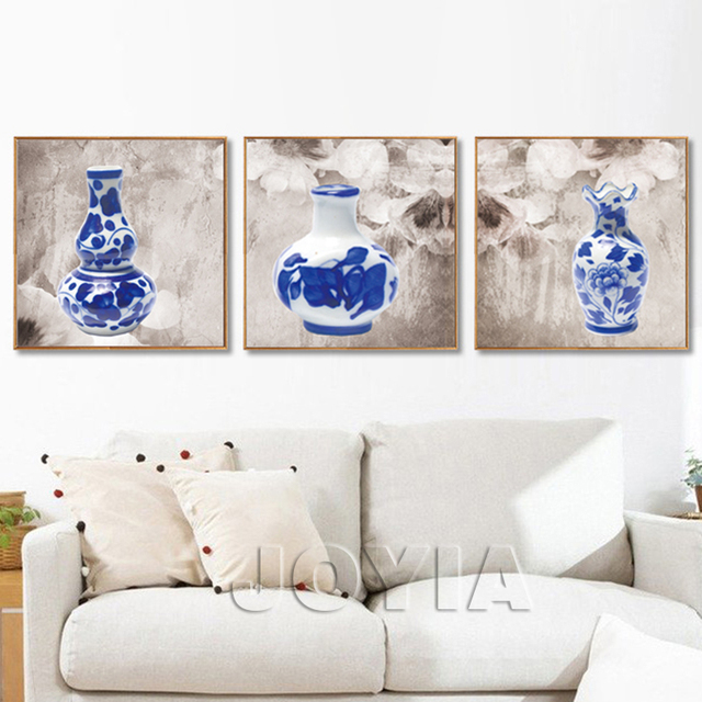 3 Piece Blue And White Porcelain Canvas Print Art Chinese Style ...