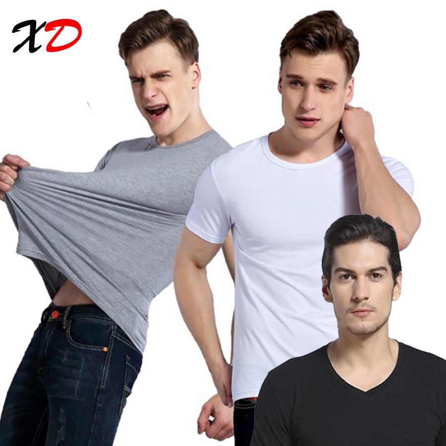 2017 Marcă nouă de vară de culoare solidă gât rotund T Tricou bărbați Bumbac elastic Tricouri de bază de sex masculin Topuri casual Tricou cu mânecă scurtă bărbați
