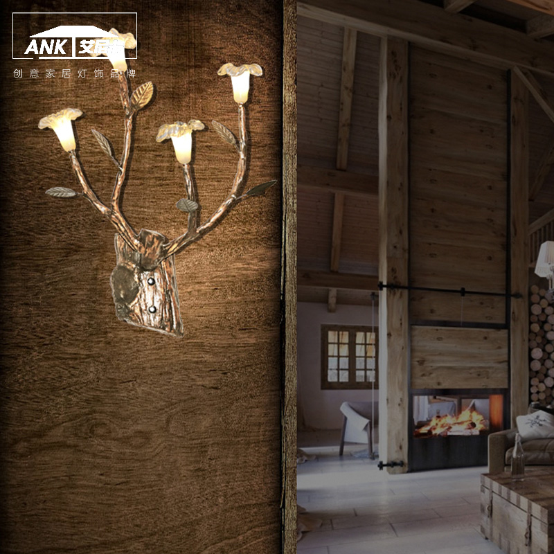post-modern Chinese garden branch art flower wall lamp resin clothing stores bar dining room wall lamppost-modern Chinese garden branch art flower wall lamp resin clothing stores bar dining room wall lamp