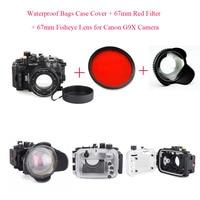 Meikon 40 м/130 футов корпус для подводной камеры для дайвинга чехол для Canon G9X + 67 мм объектив рыбий глаз + 67 мм красный фильтр  водонепроницаемые су...