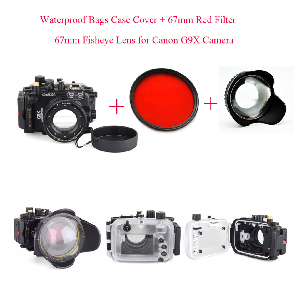Meikon 40m/130ft Underwater Diving Camera Housing Case for Canon G9X + 67mm Fisheye Lens+67mm Red Filter,Waterproof Bags Cover