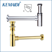 KEMAIDI Cupc Good Bottle Traps Pop up Basin Waste Drain Basin Faucet P-Traps Waste Pipe Into The Wall Drainage Plumbing Tube(China)