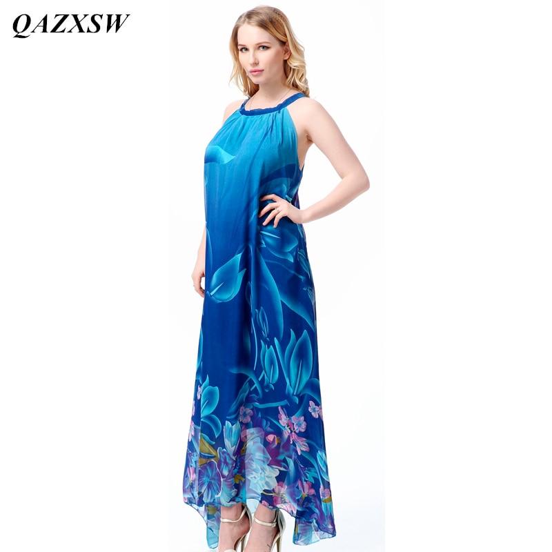 QAZXSW 2019 grande taille nouveauté femmes robe d'été bleu en mousseline de soie robe sans manches imprimé o-cou robe Slim robe M-7XL YX102