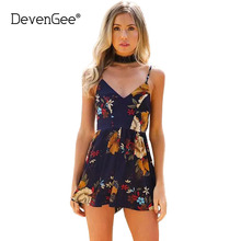 DevenGee 2017 White Strap Elegant Jumpsuit Romper Sexy Backless Chiffon Summer Playsuit Women Boho Vintage Floral Short Overalls
