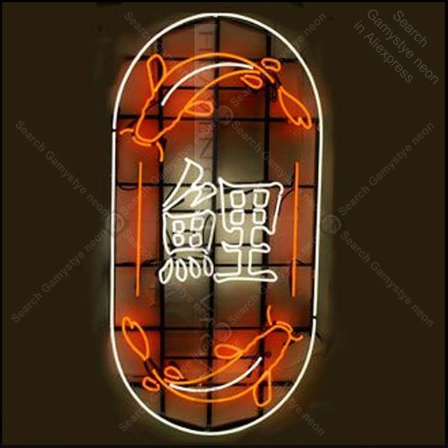 Neon Sign for Two carps Neon Bulb sign fish handcraft Hotel neon signboard neon art wall lights anuncio luminos with clear board