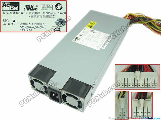 Emacro Polytech FS6011 Server - Power Supply 400W 1U Power Supply Server 100-240V 50-60Hz 5.2-2.5A aa22770 300 1568 400w server power supply for v240 n240