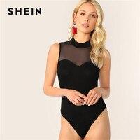2acba8fa57 SHEIN Mock-Neck Mesh Insert Form Skinny Black Bodysuit Women Summer Mid  Waist Sleeveless Solid