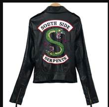 South Side Southside Serpents Riverdale PU Leather Hooded Red Black Moto Jacket Jackets Women Streetwear Snake Coat Motorcycle(China)