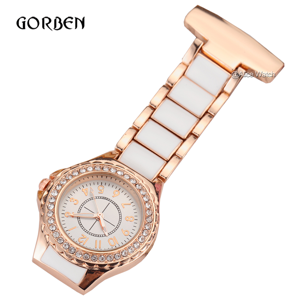 Luxury Crystal Rose Gold Nurse Pocket Watch Fashion Clip On Fob Watches Women Men Metal Doctor Paramedic Brooch Clock 2018 In