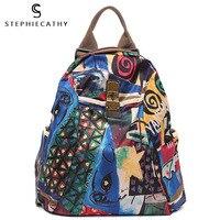 SC Women Shoulder Backpack Microfiber Leather Paint Print Bags Fashion Cartoon Casual Stylish Multi purpose Crossbody Bags
