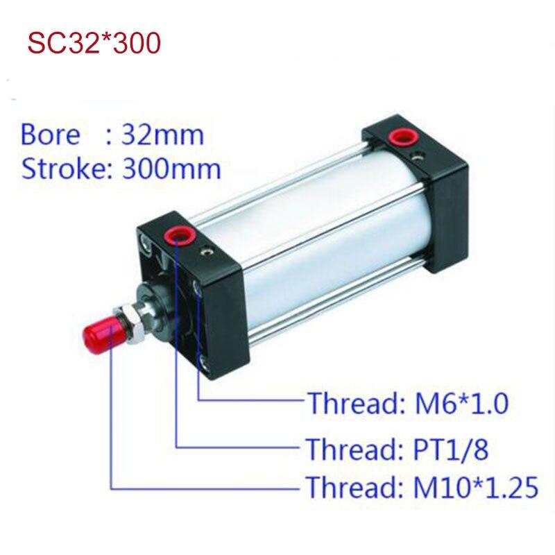 SC32 * 300 Ücretsiz kargo Standart hava tüpleri vana 32mm bore 300mm İnme SC32-300 tek rod çift etkili pnömatik silindir