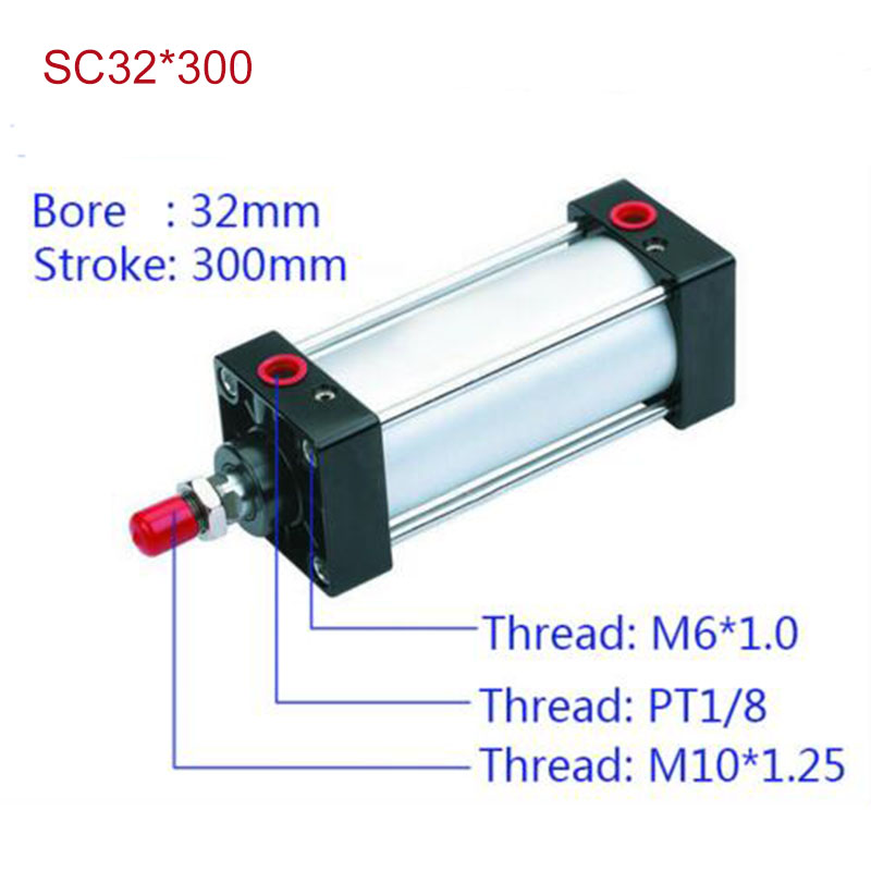 SC32*300 Free shipping Standard air cylinders valve 32mm bore 300mm stroke SC32-300 single rod double acting pneumatic cylinder rotary knob dpdt 2no 2nc 8p 0 30seconds timing time relay dc 24v ah3 2