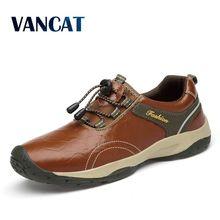 Brand Nieuwe Hoogwaardige Lederen Mannen Schoenen Outdoor Waterdichte Sneakers Mode Casual Schoenen Lace Up Mannen Loafers Big Size 38 46