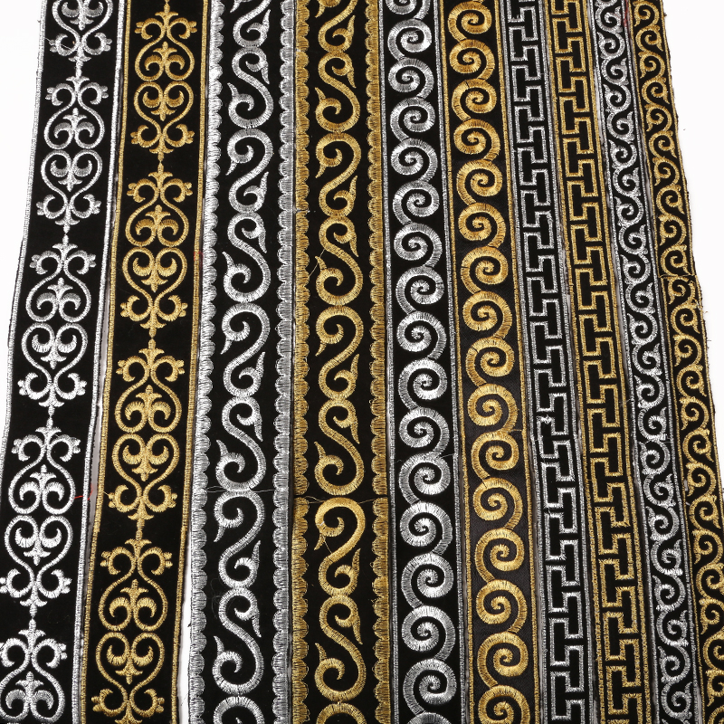 4 Meters/lot Width 2/2.5/3/5cm Gold Silver Ethnic Embroid Lace Trim Jacquard Ribbon For Garment Accessories DIY Craft Making