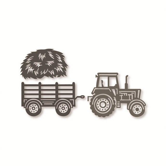 Swovo Traktor Petani Jerami Metal Cutting Dies Stensil Diy Scrapbooking Embossing Kartu Kertas Mati Pemotongan Album Foto Membuat Kerajinan