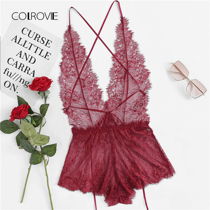 COLROVIE Criss Cross Lace Teddy Suit 2018 New Purple Summer Backless Sexy Bodysuit Home Teddy Bodysuit