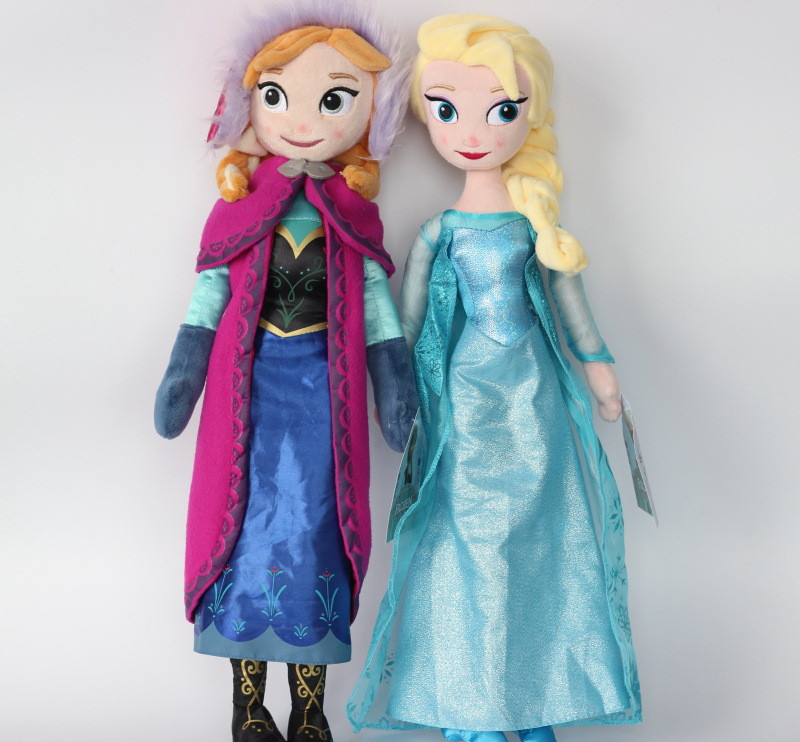 Wholsale novos presentes originais originais de alta qualidade doce bonito meninas brinquedos princesa anna e elsa boneca pelucia boneca pelúcia elsa