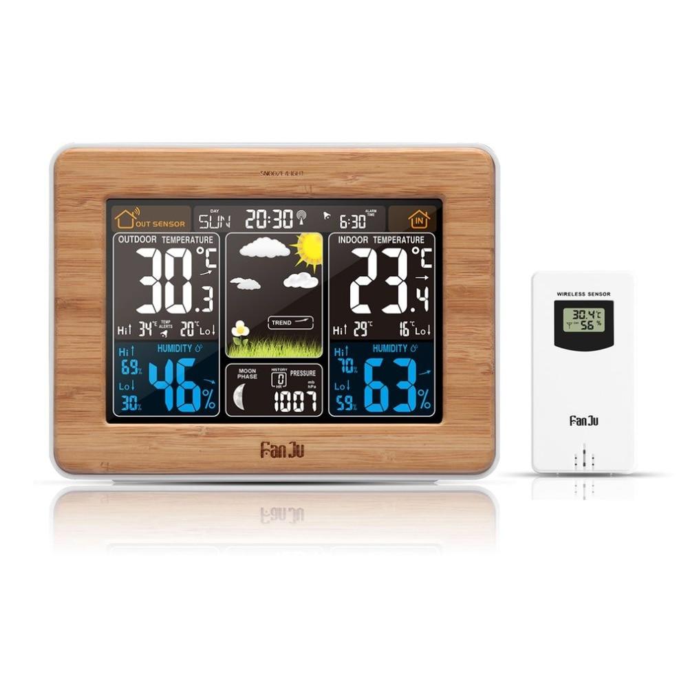 Nueva llegar estación barómetro del higrómetro del termómetro Sensor inalámbrico pantalla LCD pronóstico alarma de reloj Digital