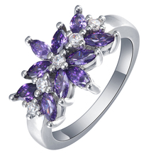 Fashion Rings Engagement Us 7 8 9 Ring New Vintage Purple CZ Finger Jewelry Wedding Gift Luxury Flower Branch rings promise rings size 6 7 8 9 10 engagement royal blue green crystal finger rings new vintage wedding jewelry gift black women ring