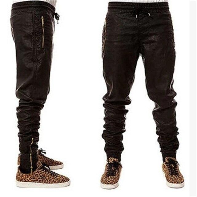 Новый Kanye West Хип-Хоп большой и высокий Мода молнии jogers брюки Мужчины Черные Бегуны танец городской Одежды Мужская искусственной кожи Брюки